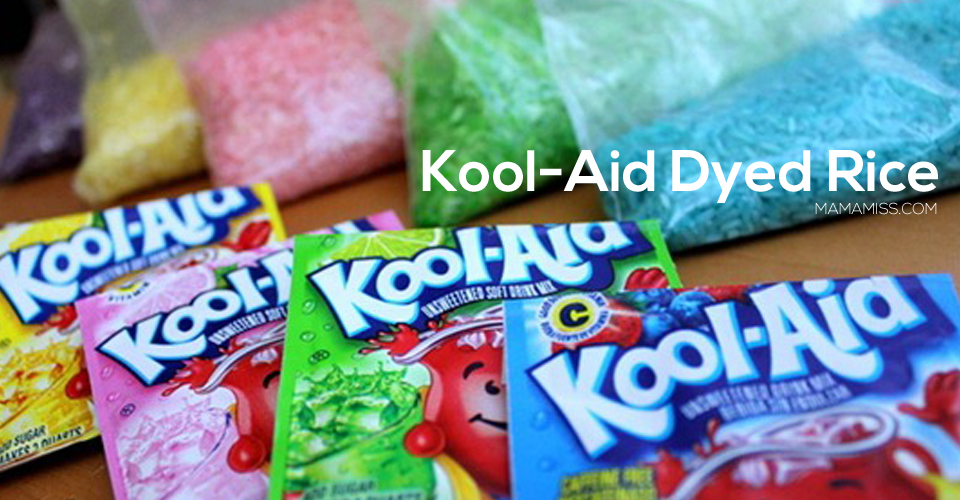 Kool-Aid dyed rice smells so yummy - it's perfect base for your kiddo sensory bin! Find the instructions on @mamamissblog