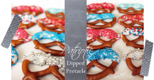 Patriotic Dipped Pretzels #treats #the4th #patriotic #sprinkles #pretzels