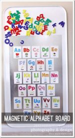 create kiddo: magnetic alphabet board