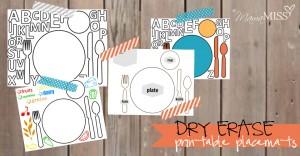 Dry Erase Printable Placemats | Mama Miss #freeprintable #dryerase #mealtime #placemat