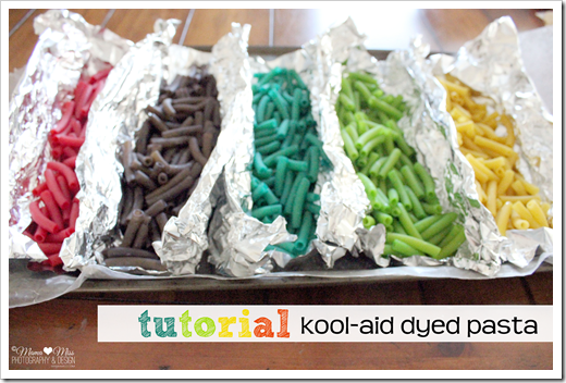 Kool-Aid dyed pasta drying