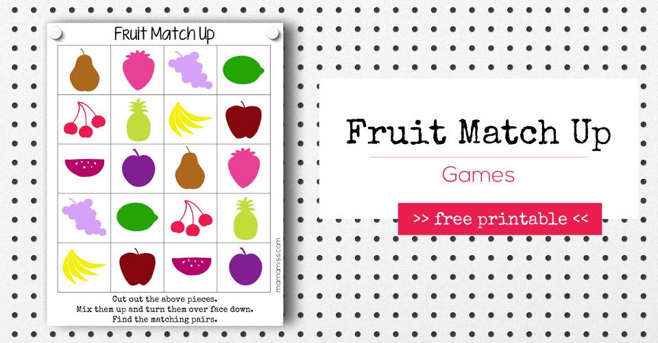 Fruit Match Up Games | @mamamissblog #freeprintable #homeschool #counting #preschool