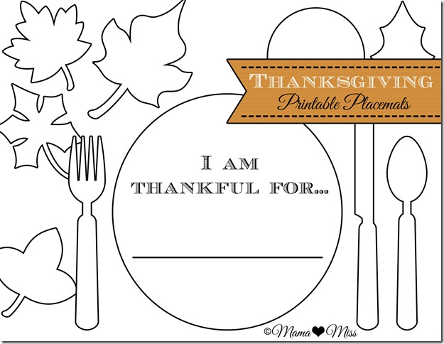 Thanksgiving Placemats Free Printable Mama Miss