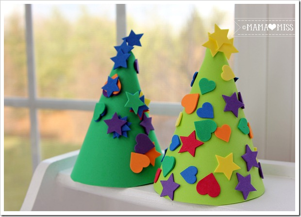 Foam Christmas Trees {mama♥miss} ©2012