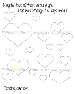Family Coloring Page of hearts to send to Newtown #HeartsToNewtown