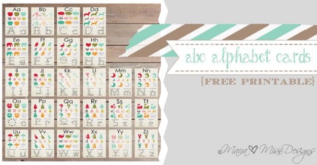 Alphabet Cards - Custom Designed Free Printables {www.mama♥miss.com} ©2013
