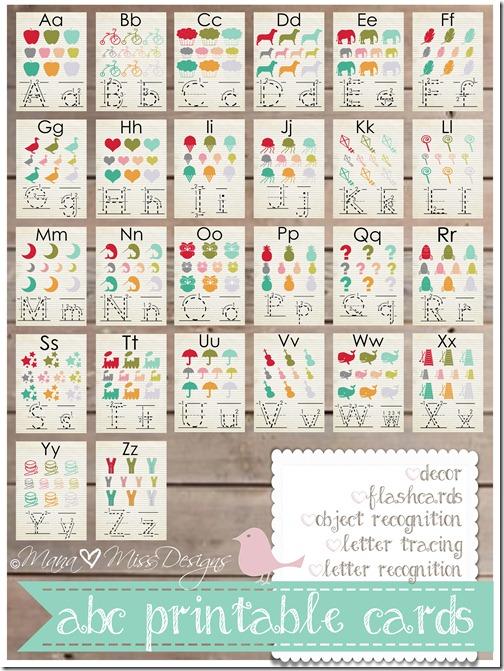 Alphabet Cards - Custom Designed Free Printables https://www.mamamiss.com ©2013