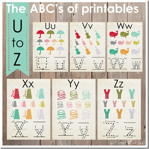 The ABC's of Printables: letters U-Z {mama♥miss} ©2013