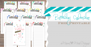 Birthday Calendar - Custom Designed Free Printables https://www.mamamiss.com ©2013