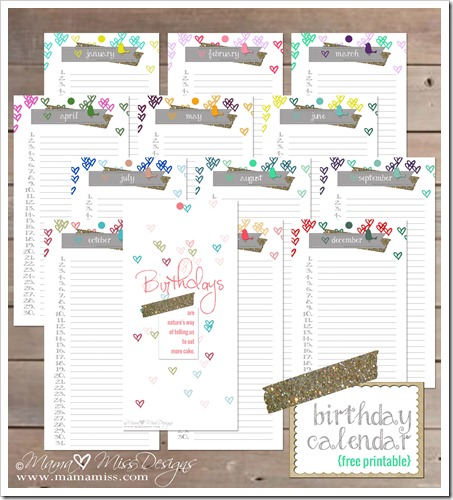 picture regarding Free Printable Birthday Calendar named Birthday Calendar - Tailor made Developed Absolutely free Printable via mama♥skip
