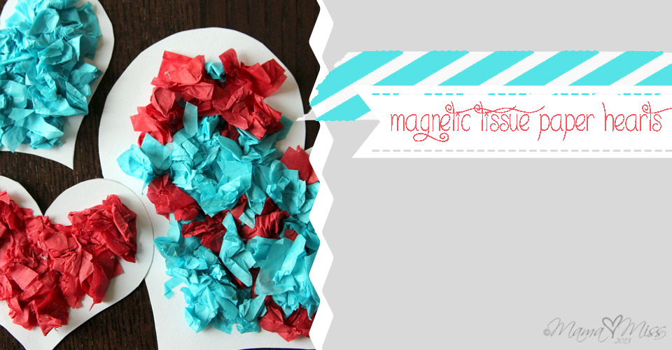 Magnetic Tissue Paper Hearts {the studio} https://www.mamamiss.com ©2013