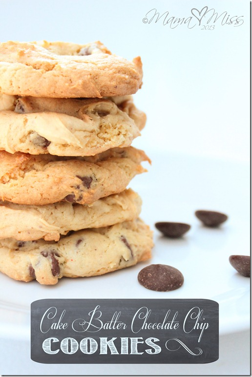 Cake Batter Chocolate Chip Cookies http://www.mamamiss.com ©2013