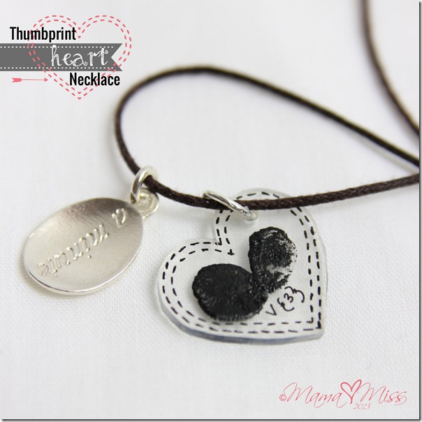 Thumbprint Heart Necklace http://www.mamamiss.com ©2013