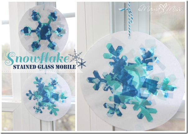 Snowflake Stained Glass Mobile https://www.mamamiss.com ©2013