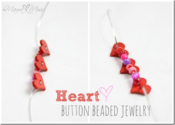 Heart Button Beaded Jewelry https://www.mamamiss.com ©2013