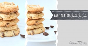 Cake Batter Chocolate Chip Cookies https://www.mamamiss.com ©2013