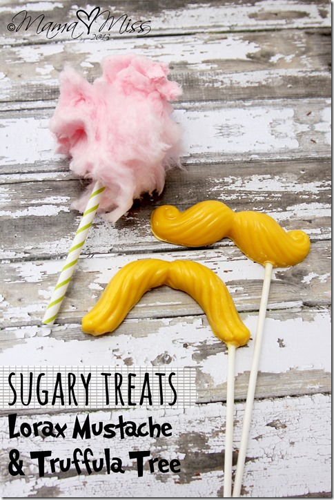 {Dr. Seuss Inspired} Lorax Mustache & Truffula Tree Treats https://www.mamamiss.com ©2013