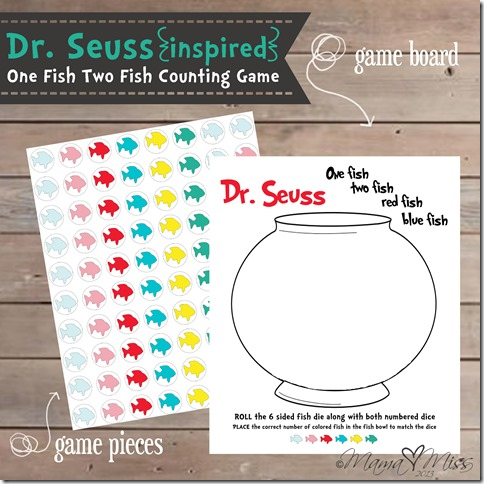 {Dr. Seuss Inspired} One Fish Two Fish Counting Game https://www.mamamiss.com ©2013