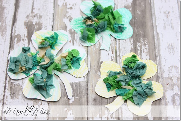 Magnetic Tissue Paper Shamrocks #StPatricksDay #DIYideas | http://www.mamamiss.com ©2013