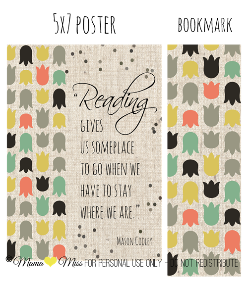 Sign & Matching Bookmark #freeprintable #custom http://www.mamamiss.com ©2013