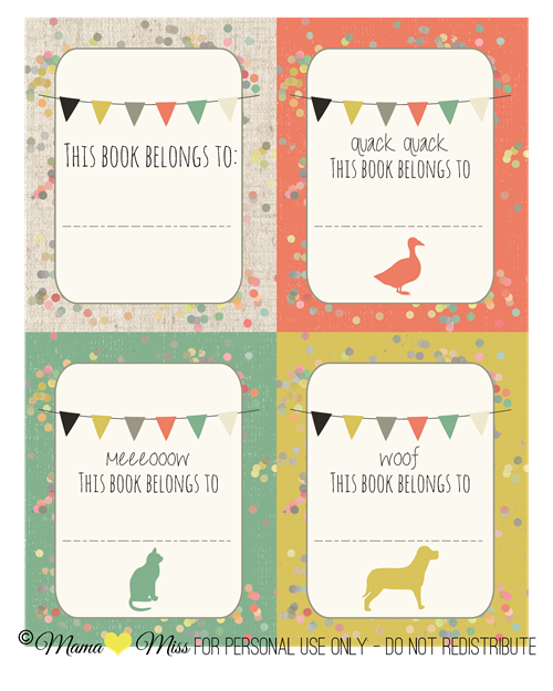Book Plates #freeprintable #littlereaders http://www.mamamiss.com ©2013