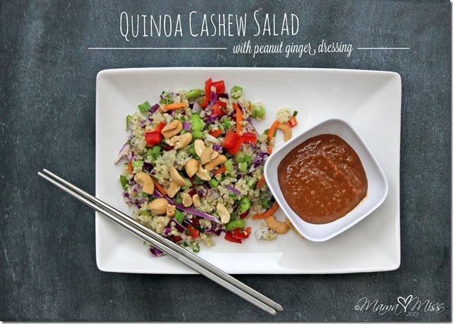 Quinoa Cashew Salad with Peanut Ginger Dressing #quinoa #salad #peanutbutter https://www.mamamiss.com ©2013