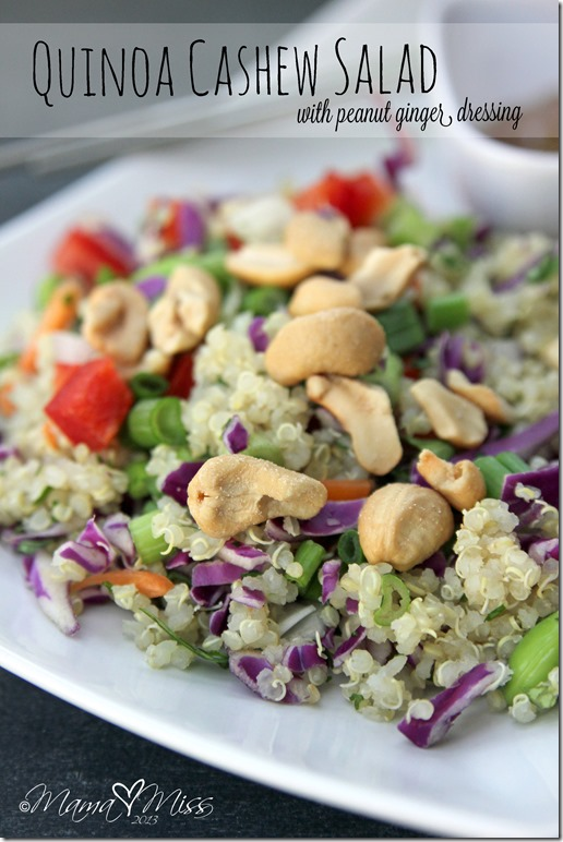 Quinoa Cashew Salad with Peanut Ginger Dressing #quinoa #salad #peanutbutter http://www.mamamiss.com ©2013
