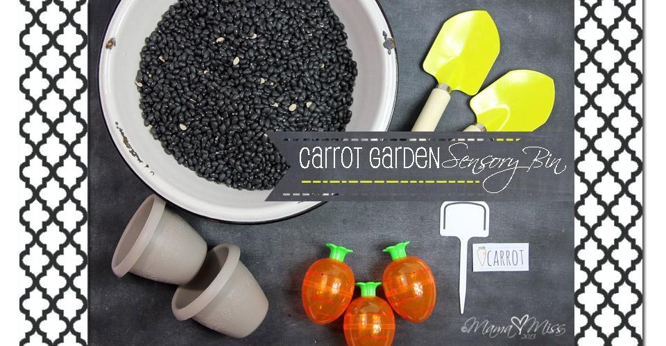 Carrot Garden Sensory Bin #sensory #carrot # spring https://www.mamamiss.com ©2013