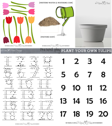 Pretend Play Inspired By Tulips #freeprintable #pretendplay #tulips https://www.mamamiss.com ©2013