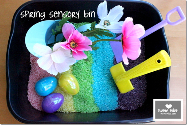 Spring Sensory Bin #spring #sensory http://www.mamamiss.com ©2012