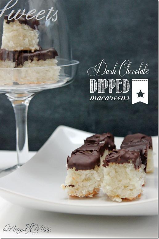 Dark Chocolate Dipped Macaroons #chocolate #macaroons https://www.mamamiss.com ©2013