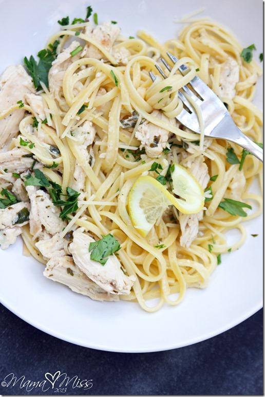 Lemon Chicken Linguine @mamamissblog #chicken #lemon #pasta