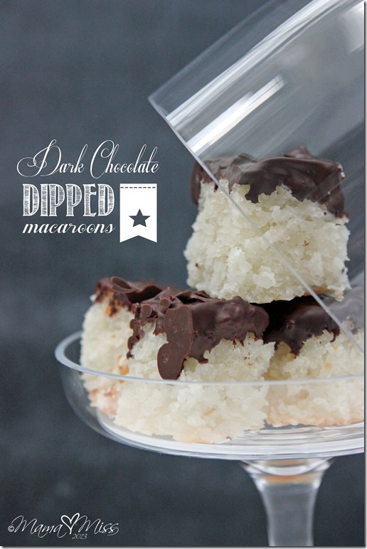 Dark Chocolate Dipped Macaroons #chocolate #macaroons http://www.mamamiss.com ©2013