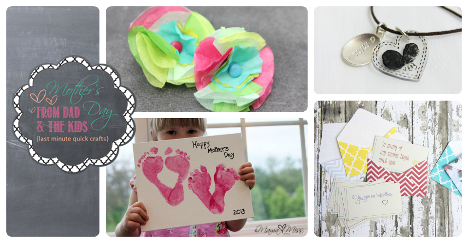 mother's day: From Dad and The Kids {last minute quick crafts} #footprints #thumbprints #kidcrafts https://www.mamamiss.com ©2013