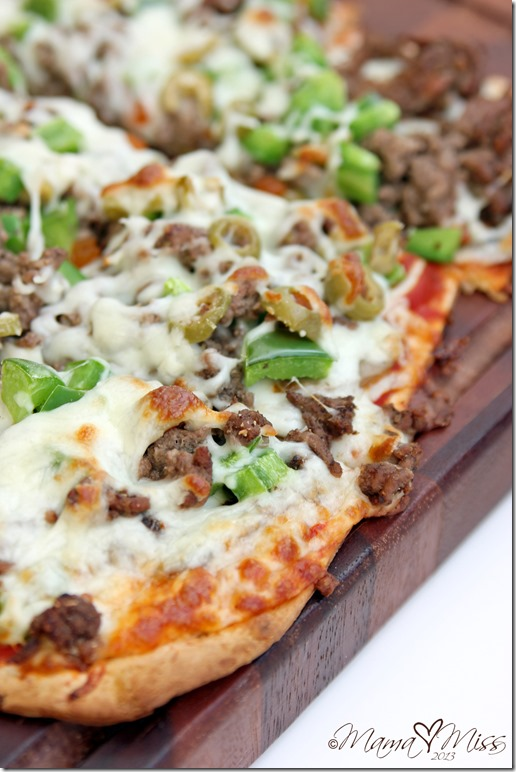 Thin Crust Ground Beef & Green Olive Pizza #pizza #target #beef