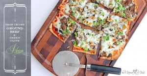 eats: Thin Crust Ground Beef and Green Olive Pizza