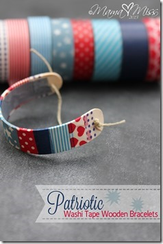 Patriotic Washi Tape Wooden Bracelets #washitapecrafts