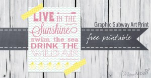 Live In The Sunshine - Graphic Subway Art Print | Mama Miss #summer #subwayart #beach #Emerson