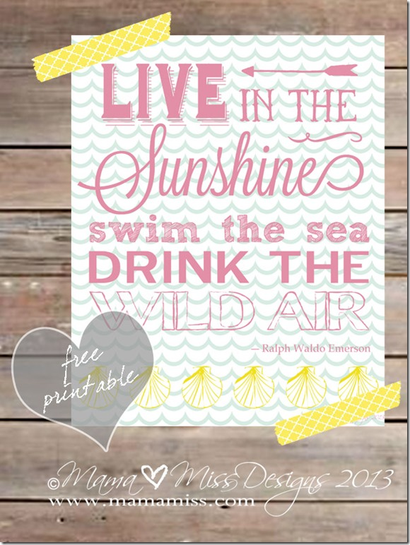 Live In The Sunshine - Graphic Subway Art Print | Mama Miss  #summer #subwayart #beach #Emerson