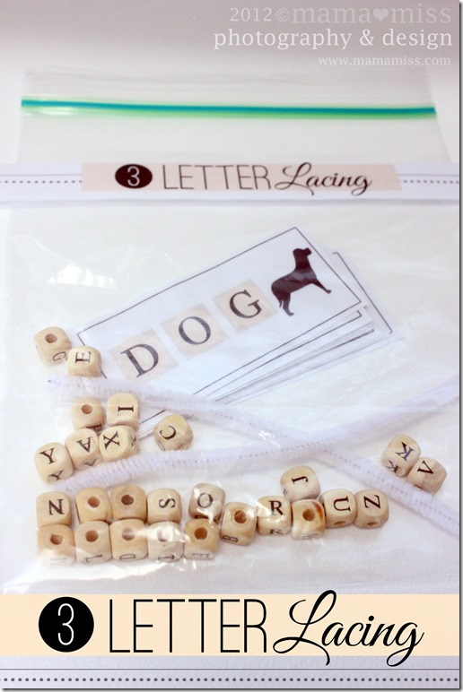 Three-Letter-Lacing Busy Bag | Mama Miss #freeprintable #busybag #quiettime #letters