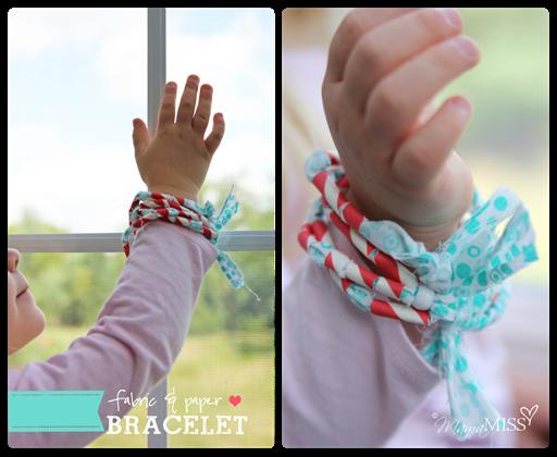 Fabric & Paper Bracelet | Mama Miss #straws #fabricjewelry #kidcrafts
