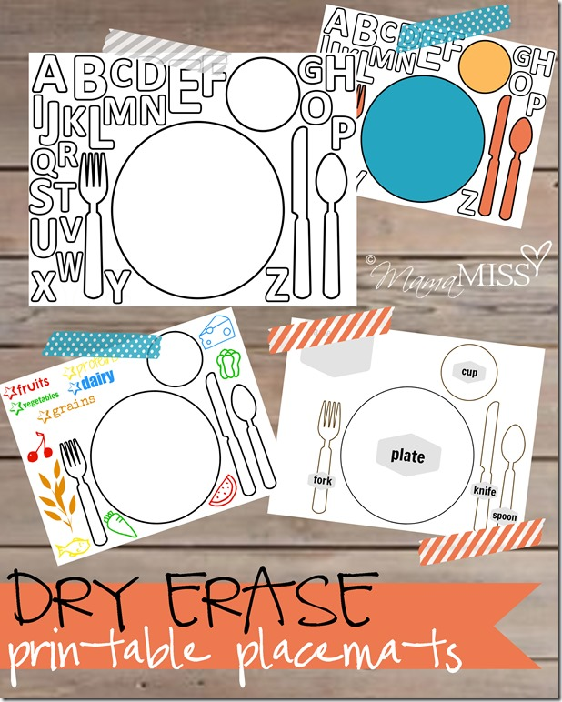 Printable placemat for learning how to set the table printable