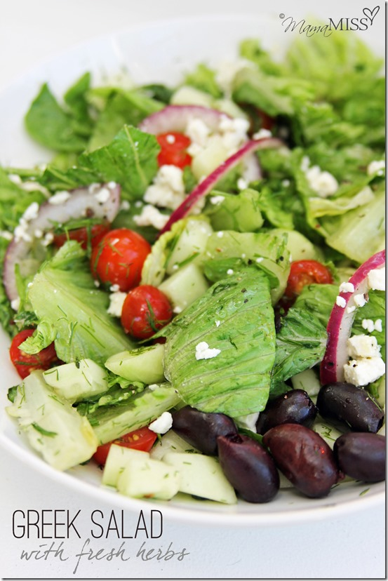 Greek Salad with fresh herbs | Mama Miss #salad #greek #healthy #dinner #fresh