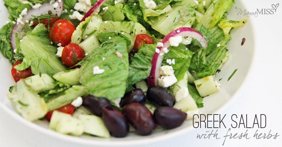 Greek Salad with Fresh Herbs - Mama Miss