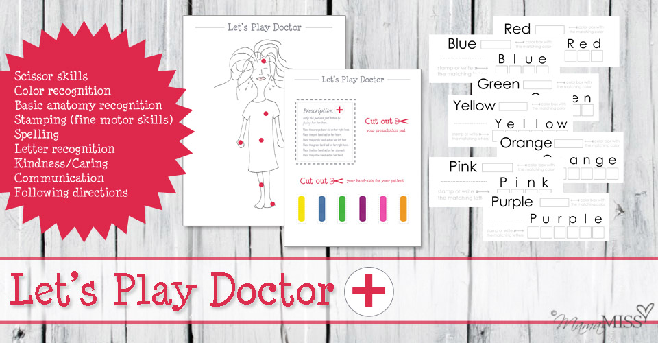 Let's Play Doctor Pretend Play + Color Stamping Cards | Mama Miss #freeprintable #colors #pretendplay #doctor