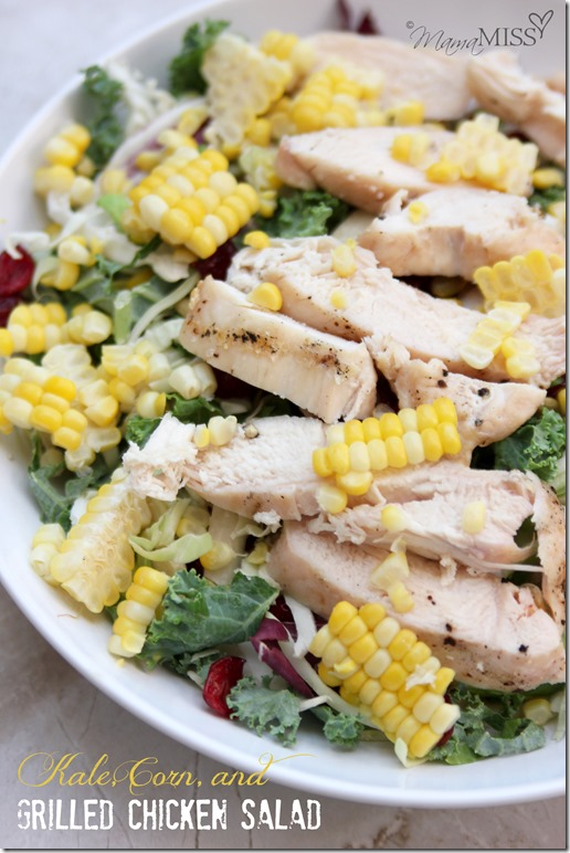 Kale, Corn, and Grilled Chicken Salad (made two ways - kiddo & adult) | Mama Miss #kidfood #healthyeating #familyfood