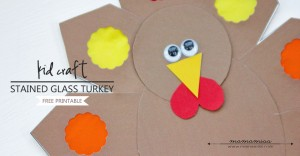 Stained Glass Turkey Craft   @mamamissblog #thanksgiving #turkeycraft #freeprintable