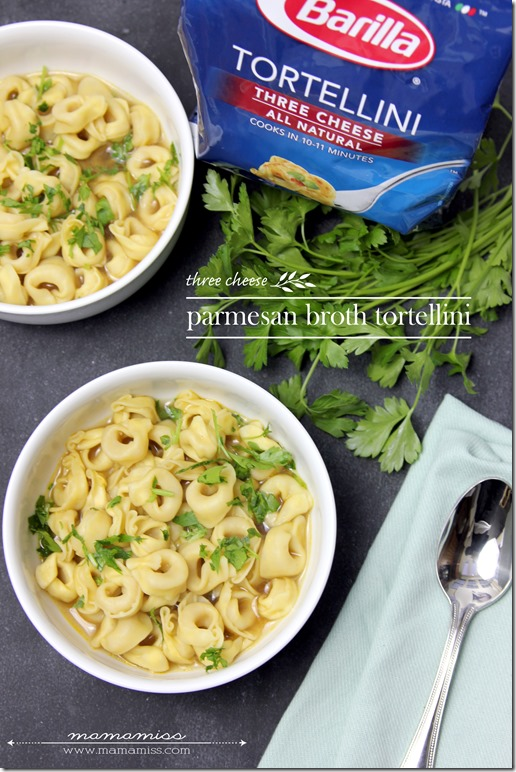 Parmesan Broth Tortellini | @mamamissblog #pastanight #easymeal #quickeats