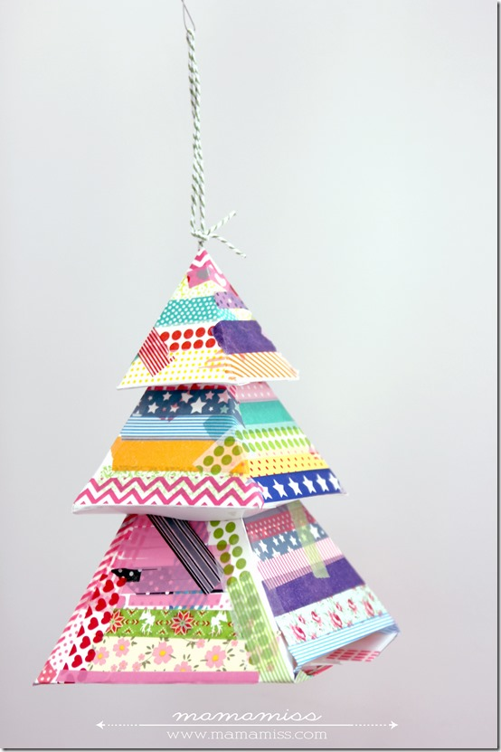 Washi Tape Evergreen Tree | @mamamissblog #washitapecrafts #holiday #ornament