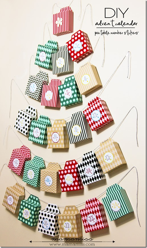 DIY Advent Calendar and Printable Number Stickers | @mamamissblog #adventcalendar #books #freeprintable #diyonthefly